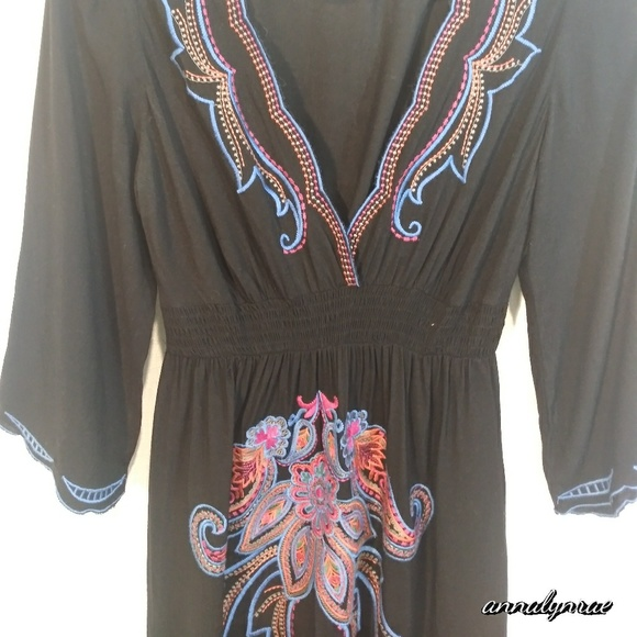 Flying Tomato Dresses & Skirts - Flying Tomato black embroidered dress. Boho. Med